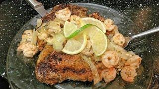 Sautéed Lemon and Lime Citrus Shrimp over Porterhouse Steak
