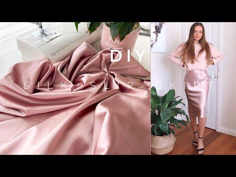 DIY Super Easy Silk Slip Skirt / No Pattern / Skirt In 30 Min - YouTube