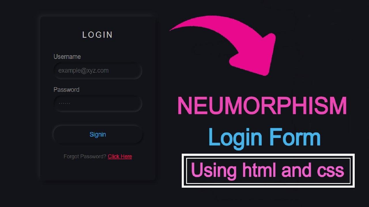 Dark Neumorphism login form using html and css    Foolish Developer