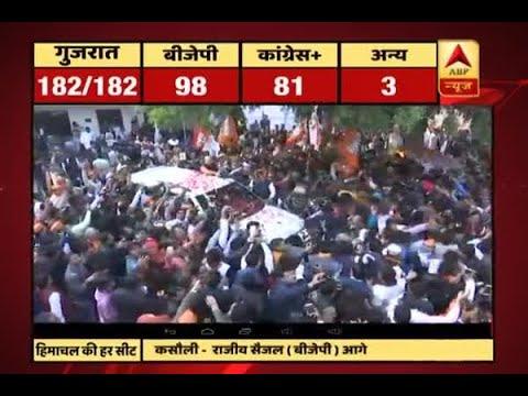 #ABPResults: BJP President Amit Shah celebrates BJP's lead in Gujarat and Himachal Pradesh