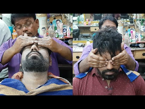 Asmr head and face massage with neck cracking( Barber Sarwan )