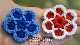 Красивый цветок крючком. Цветочек со звездой. Cute Crochet Flower.(Мастер-класс по вязанию Объемного цветка крючком. How to Crochet flower. Cute As A Button Flower Pattern Видео урок состоит из 31..., 2015-10-23T14:23:40.000Z)