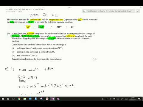 Water Hardness (EDTA) Titration Calculations Example