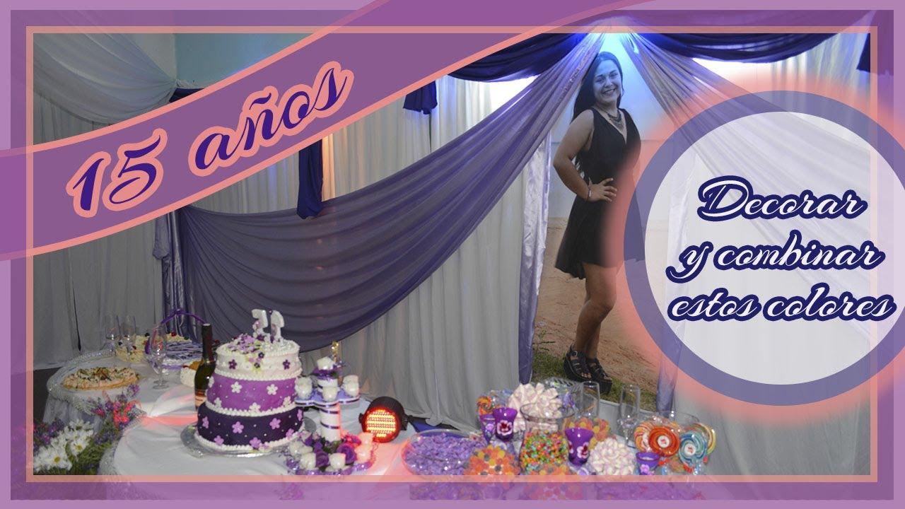 Decoraci n de fiesta de 15 a os con telas a il lila y for Decoracion con telas