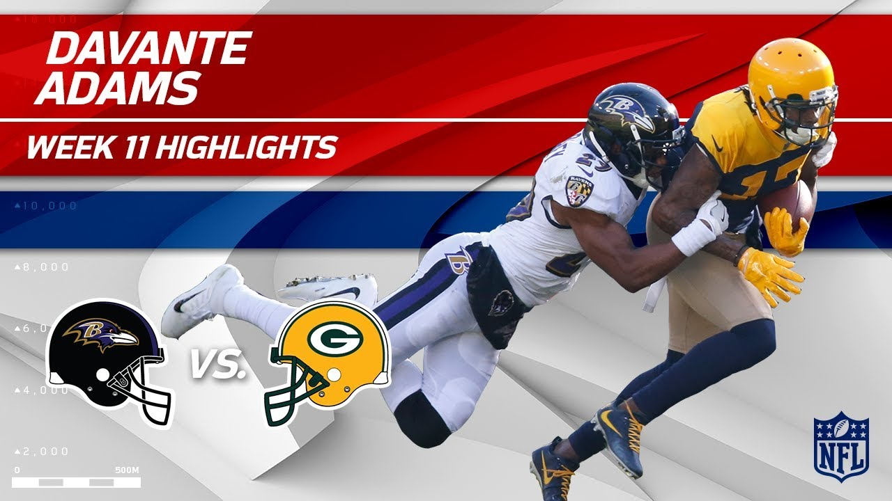 Davante Adams' 8 Catches & 126 Yards vs. Baltimore! | Ravens vs. Packers | Wk 11 Player HLs