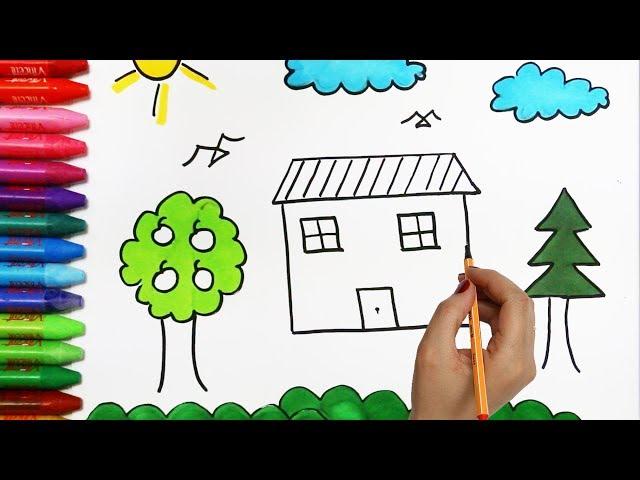 Ev Ağaç Güneş Bulut çizim Nasıl Yapılır Nasıl çizilir çocuk Ve