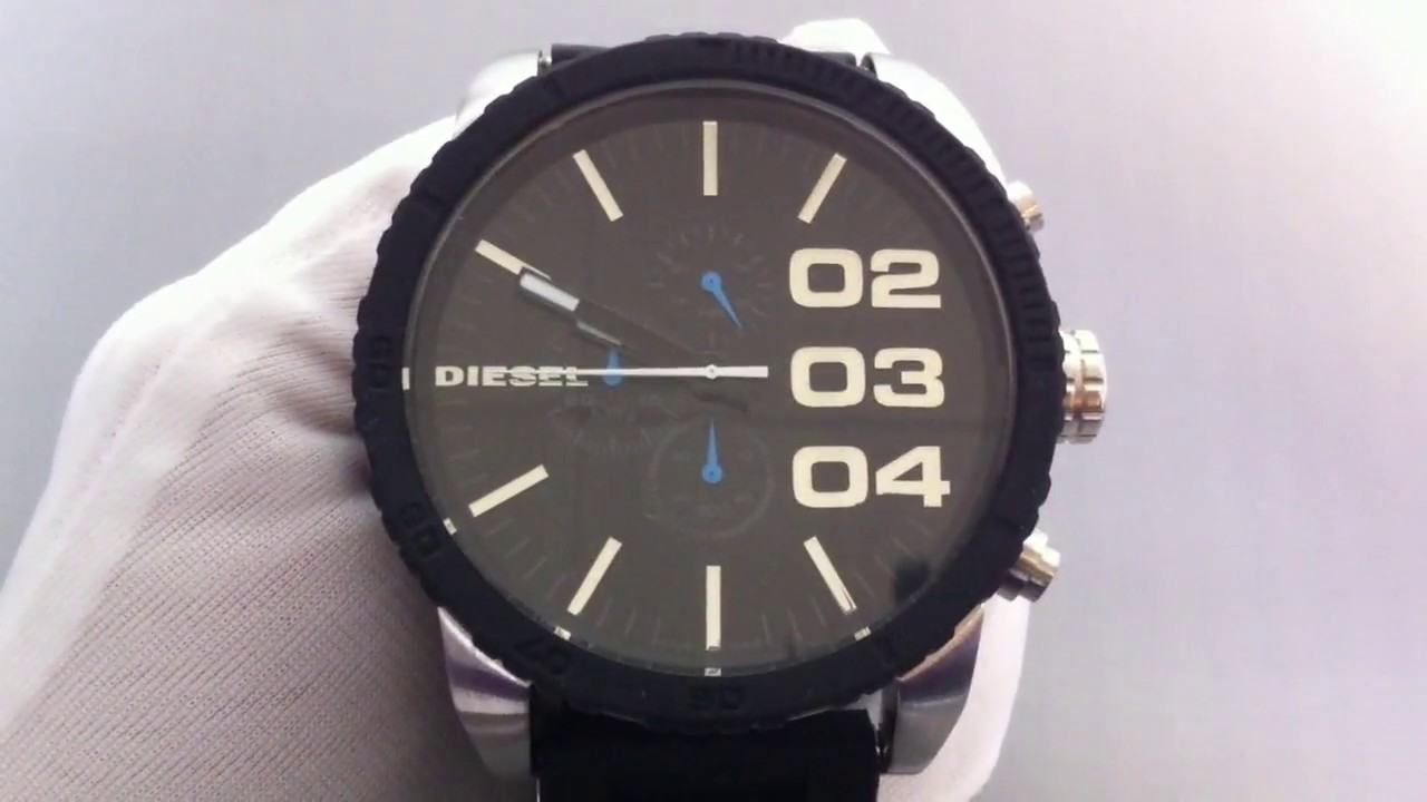 0555b83b7 Men's Black Diesel Oversized Chronograph Watch DZ4255 - YouTube