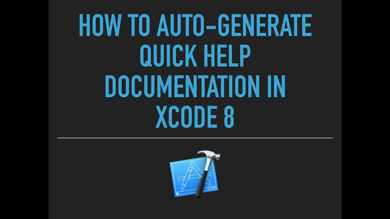 Auto Generate Documentation in Xcode 8 | New Features Xcode 8