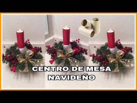 CENTRO DE MESA NAVIDEÑO CON ROLLOS DE PAPEL HIGIENICO Y BOTELLAS DE PLASTICO