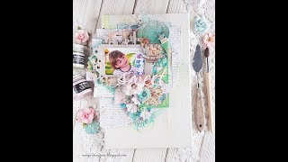 """Step-by-step tutorial """"Sweet""""mixed media canvas"""