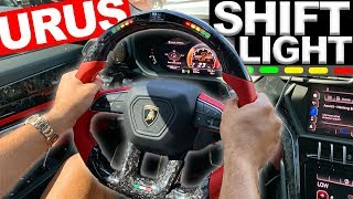 1ST LAMBORGHINI URUS SHIFT LIGHT STEERING WHEEL, PIRELLI AVENTADOR LAMBORGHINI COLOR CHANGE.