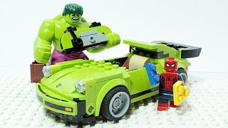 Lego Spider Man and Hulk Brick Building Super Car Porsche 911 Turbo Superheroes Animation