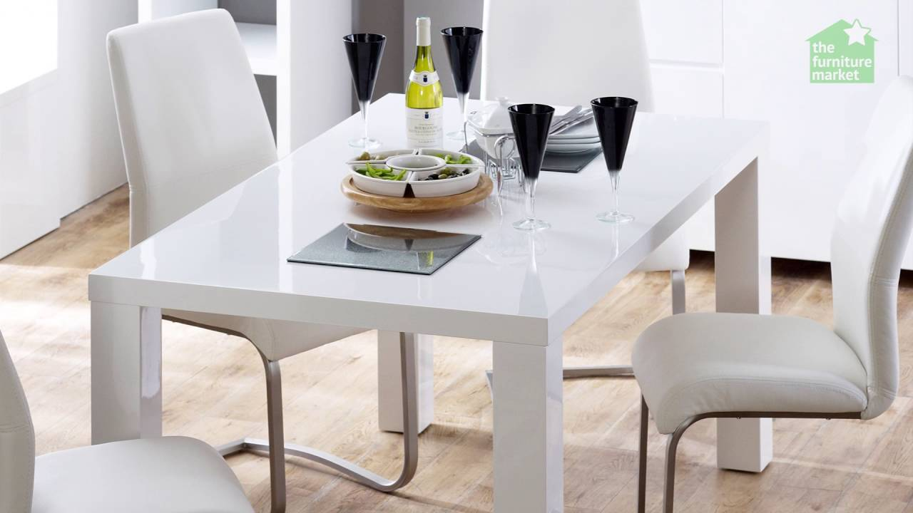 White high gloss rectangular 6 seater dining table youtube for 6 seater dining table