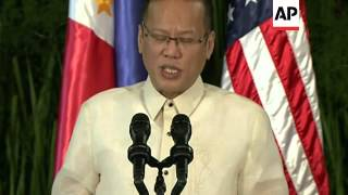 President Obama joined President Benigno Aquino III in a joint press conference Monday in Manila. Th