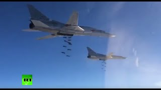 New footage of Russian strategic bombers striking targets in Syria