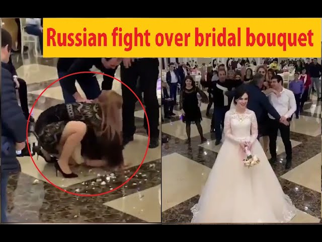 Russian fight over bridal bouquet – go viral #weddingfail