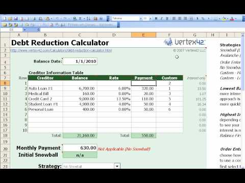 How to use the Free Debt ReductionSnowball Calculator from Vertex42 - debt reduction calculator