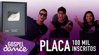 reação do gospel dance ao receber a placa de 100 mil inscritos do youtube