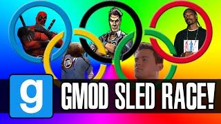 Gmod: Winter Olympics - Sled Build Race & Chaos! (garry's Mod Sandbox Funny Moments)