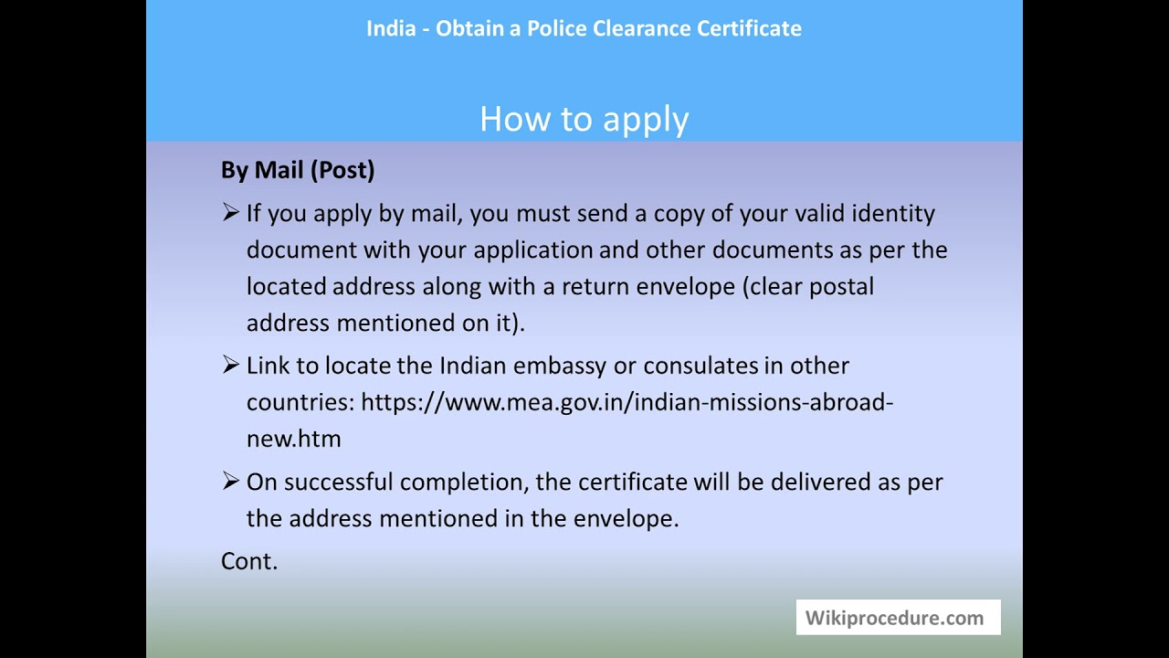 India - Obtain a Police Clearance Certificate