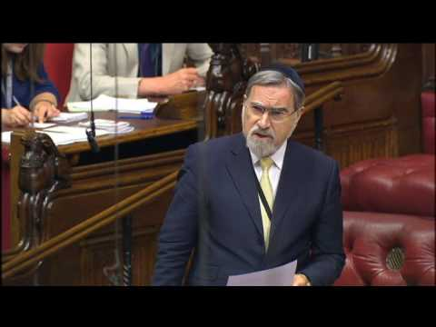 Rabbi Sacks speaks in a House of Lords debate on the centenary of the Balfour Declaration