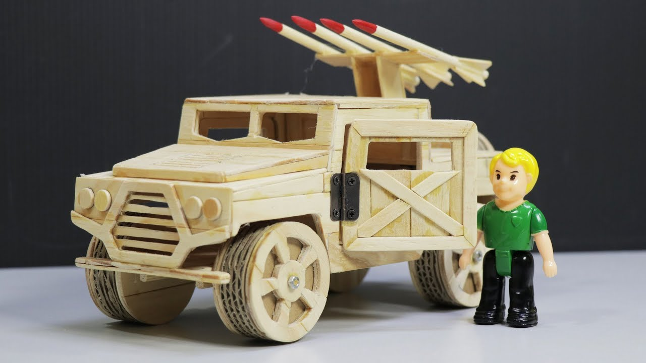 How To Make Hummer Car (HMMWV Humvee) From Popsicle Sticks