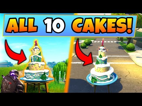 Fortnite BIRTHDAY CAKE LOCATIONS/CHALLENGES GUIDE!: Dance in Front of Birthday Cakes (Battle Royale)