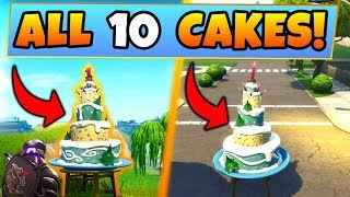 Fortnite BIRTHDAY CAKE LOCATIONS/CHALLENGES GUIDE!: Dance in Front of Birthday Cakes (Battle Royale) thumbnail