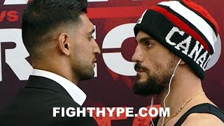 AMIR KHAN STARES DOWN PHIL LO GRECO, WHO GRITS TEETH DURING INTENSE FACE OFF