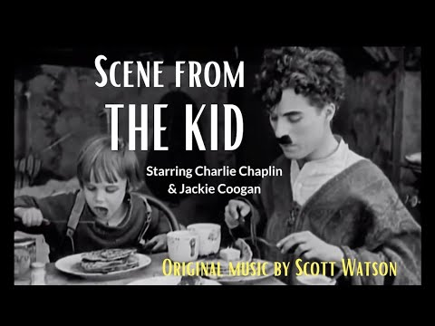 Scene from, The Kid (starring Charlie Chaplin and Jackie Coogan)