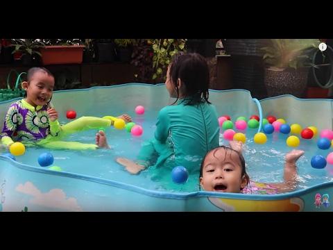 Kolam renang mainan anak bayi lucu - Lifia Niala with Baby swimming pool and kids @Lifiatubehd