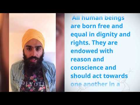 Dr Jagdeep Singh, United Kingdom Great Britain And Northern Ireland, reading article 1 of the Univer