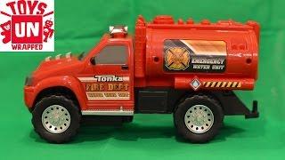 unwrapping hasbro tonka mighty fleet fire department water tank unit 06595 toy fire truck