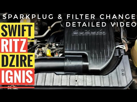 HOW TO CHANGE SPARKPLUG AND AIR FILTER FOR MARUTI SUZUKI SWIFT, SWIFT DZIRE, RITZ, IGNIS | NGK PLUGS