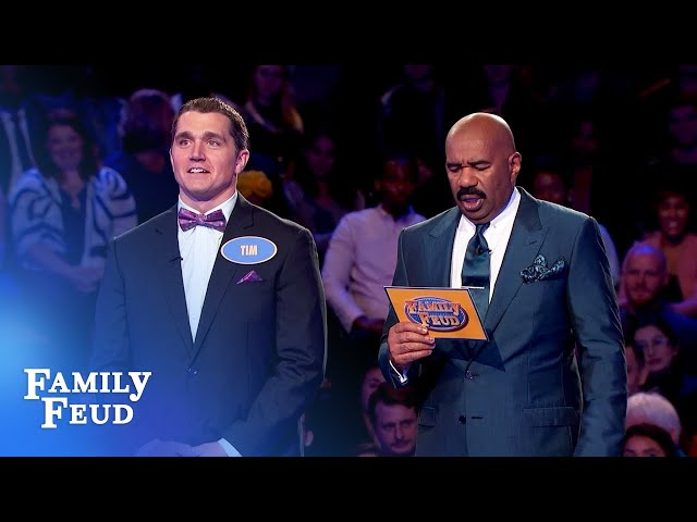 Tim needs 58 points for $20,000! | Family Feud