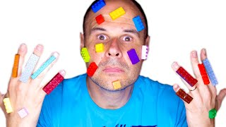 LEGO stuck to my dad's face   Lego hands   Toys and Erika