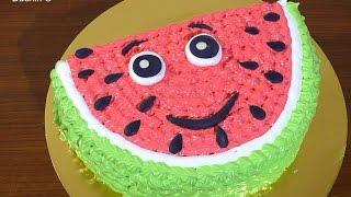 Кремовый торт долька арбуза мастер-класс Украшение тортов Как украсить торт кремом