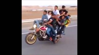 10 people in one bike | Doing wheelie with 10 people in bike
