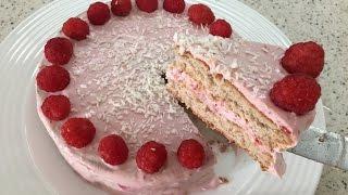 Диетический творожно-ягодный торт. Фитнес выпечка. ПП торт.