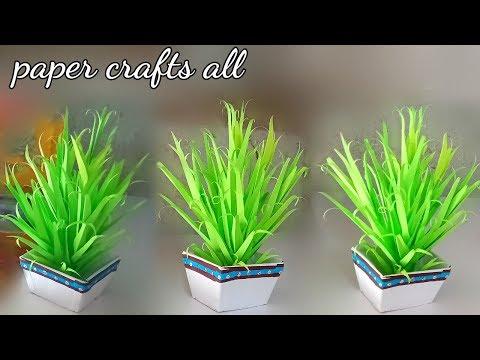 handmade leaf plant for home decoration / home decoration paper plants / make flower pot with paper