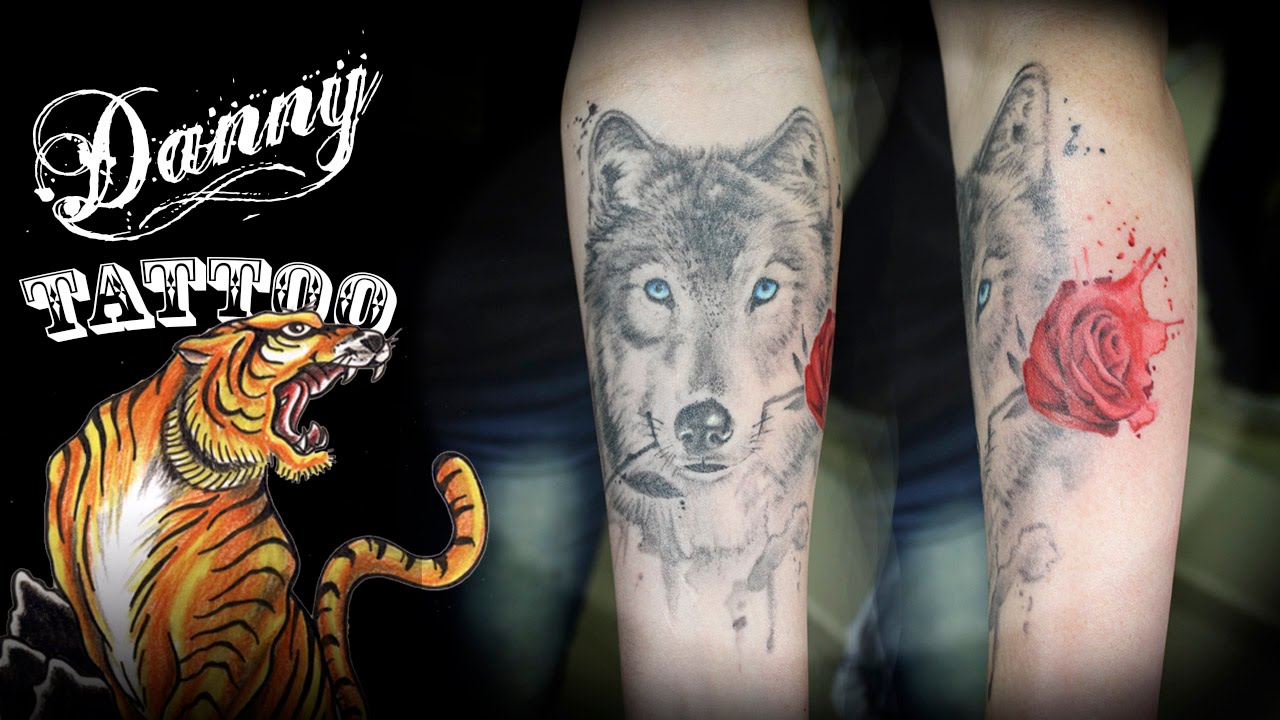 bac77edb7 Um Lobo e uma Rosa Aquarelada - Danny Tattoo (A Wolf and a Watercolor Rose)  TimeLapse - YouTube