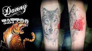 Um Lobo e uma Rosa Aquarelada - Danny Tattoo (A Wolf and a Watercolor Rose) TimeLapse