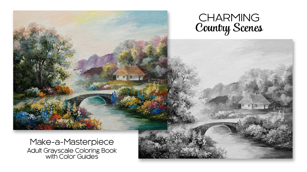 Charming Country Scenes Adult Grayscale Coloring Book With Color Guides