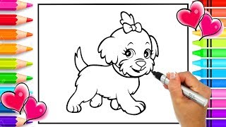 How to Draw a Cute Dog Step by Step By Hand | Dog Coloring Page | Learn How to Draw |