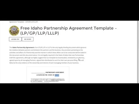 Free Idaho Partnership Agreement Template – (LP/GP/LLP/LLLP)