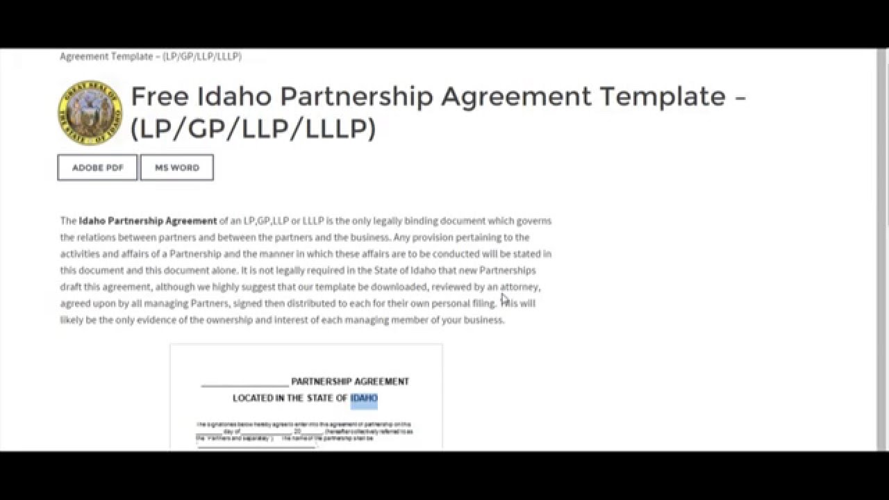 Free Idaho Partnership Agreement Template LPGPLLPLLLP YouTube - Llp partnership agreement template
