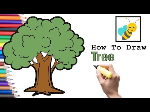 how-to-draw-a-tree-and-coloring-a-tree-|-bee-art