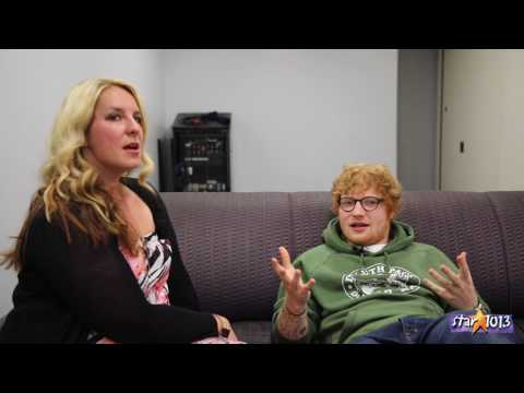 Sandy Talks with Ed Sheeran Backstage at Oracle Arena