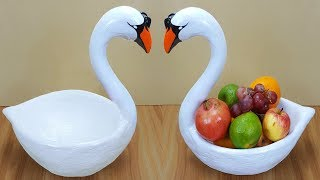 Birthday gift showpiece making at home // Swan fruit pot // swan showpiece // Best out of waste
