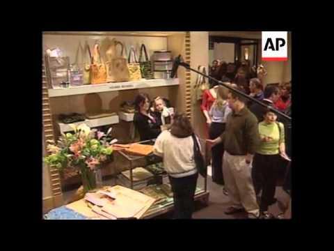 6ef203afde31 USA  MONICA LEWINSKY PROMOTES HANDBAGS - YouTube